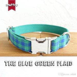MUTTCO Einzelhandel hohe Qualität Hundehalsband Gehtraining Hundeleine THE BLUE GREEN PLAID kreatives Design Hundehalsband Zubehör 5 Größen UDC073