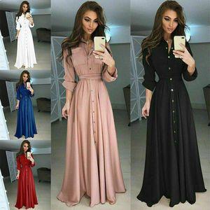 Yeni Yaz Sonbahar Kadın Düğmeler V Yaka Uzun Kollu Katı Siyah Kırmızı Gevşek Büyük Beden Uzun Maxi Elbise Kadınlar Moda Moda