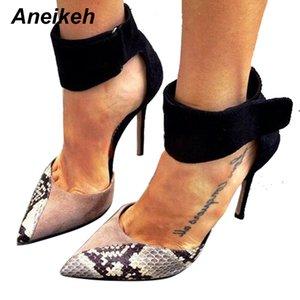 Aneikeh 2018 Mais recente moda Pointed Toe único sapatos Mulheres Salto Lady Escritório Vogue Sexy Snake Padrão Bombas Tamanho 35-40 Preto