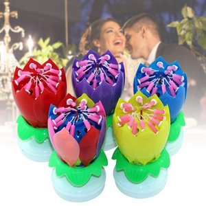 Upgrade Multicolor Rotating Lotus Cake Candle Electronic Music Candle Birthday Wedding L9