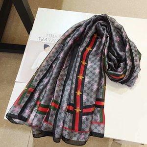 Sciarpe all'ingrosso per 180x90cm Donne piccole lettera ape sciarpa di seta lungo femminile scialle 180 * 90cm per la grande testa di Hijab Sciarpe per le donne
