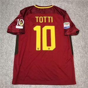 Retro Roma 2017 2018 Jerseys de fútbol Totti de Rossi Dzeko Nainggolan 17/18 Retro Camisa de fútbol S-2XL