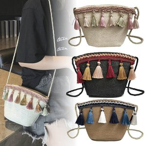 Women Knitted Shoulder Bag Ethnic Tassel Large Capacity Crossbody Bag with Small Strap TC21