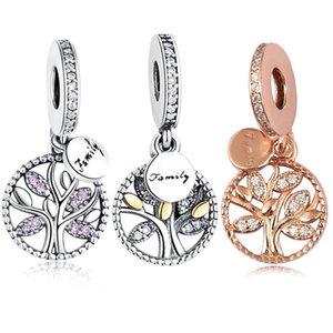 Gümüş Family Tree Charms Kadınlar Takı Yapımı İçin Pandora bilezik kolye için daha Kübik Zirkon kolye Boncuk