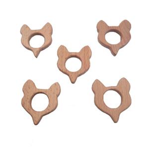 Jouets belle bande dessinée bois renard jouet de dentition naturel animal en forme de bricolage collier de dentition hêtre bébé jouets de dentition Montessori Toddler jouets