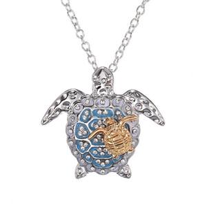 Gioielli Collana Nuova lettera Heart Mother Collana Giorno regalo creativo animale sveglia Double Elephant Sea turtle per il regalo delle ragazze