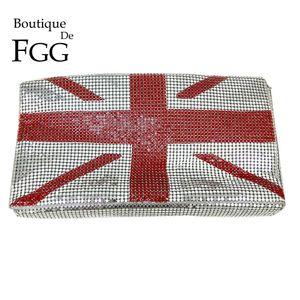 Boutique De FGG Royaume-Uni Angleterre Drapeau National En Aluminium Pour Femmes Mode Jour Embrayages Sac À Main Casual Enveloppe Sac À Main Sac De Soirée