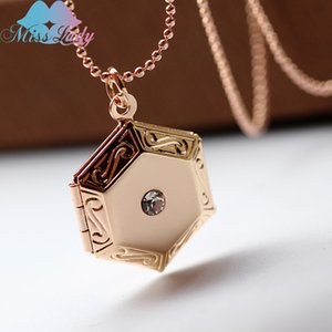 Miss Lady women floating locket necklace hexagon Crystal pendant DIY Photo Necklaces & Pendants Jewelry for Women Men MLY51N
