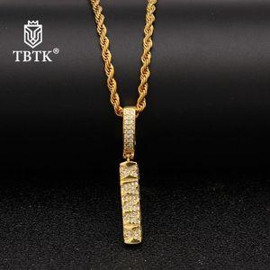 TBTK westliche HipHop-Art-Kupfer-schöner Anhänger Halskette funkelnde Zircon Subculture Anhänger Gold Seil Kettenbrief Halskette