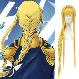 100% nuovo modo di alta qualità immagine parrucche piene del merletto arte di parola online aloe Alice alicizzazione Alice parrucca cosplay giallo dorato intrecciato parrucche