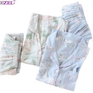 2020 Spring New Ladies Pajamas Set Floral Printed Soft Sleepwear Cotton Simple Style Women Long Sleeve+Pants 2Piece Set Homewear CX200703