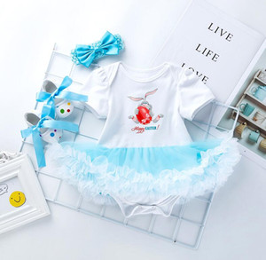 Vente chaude Happy Easter Bébé Filles Vêtements Barboteuse Nouveau-Né Lapin Combinaisons Infant Bebe Vêtements Bébé Costumes Robe Tenue 3 Styles