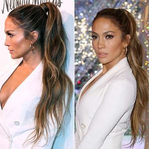 """virgin Wavy Curly brown highlight blonde Ombre Wrap Around Ponytail Clip in Hair Extensions Hairpieces140g 20"""""""
