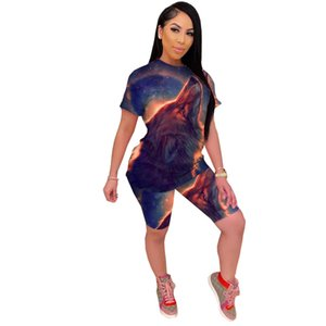 Two-piece set Europe and America Women 3D Vision Starry sky printing Leisure Set fashion Tie-dye All-match Sportswear new style