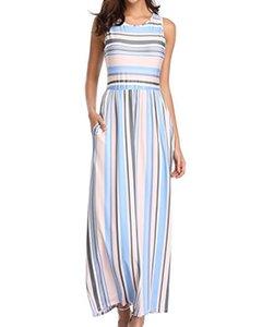 BBYES Womens Dress Dress Striped Maxi robes de plage d'été sans manches avec poche