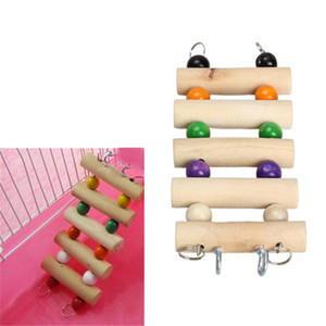 1pc Wooden Pets Ladder Toys For Hamster Parrot Birds Cage Accessories Flexible Hanging Ladder Toy Parrot Pet Products