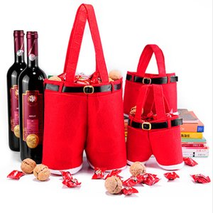 Pantaloni di Babbo Natale Borsa di caramelle Pantaloni di Babbo Natale rossi Sacchetti regalo Matrimonio di Natale Borse di caramelle Decorazioni di bottiglie di Natale