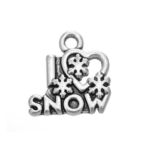 50PCS Ancient Silver Alloy Jewelry Accessories Charm I Love Snow Dangle Charms Fit For DIY Dangle Necklace&Bracelet