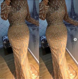 Mangas compridas champanhe lantejoulas tule sereia árabe dubai vestidos de baile 2020 vestido de noite vestidos de festa plus size abendkleider robe de soirée
