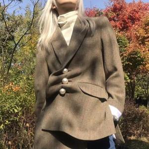 Liva Pearl Button Manteau en laine Femmes de Split Slim hiver Veste de printemps chaud femmes Plaid manches longues Manteau de poche