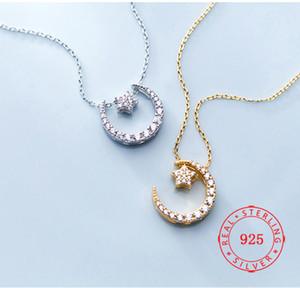 2019 novo de alta qualidade 100% lua de prata 925 idéia do produto e estrela CZ diamante frete grátis colar artesanal