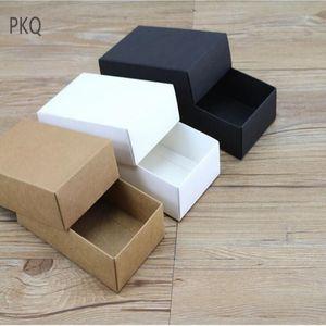 10 boyutları Kraft Kapaklı Siyah Beyaz Karton Kutu Kraft Kağıt Boş Karton Kutu DIY Zanaat Hediye Ambalaj Kutuları
