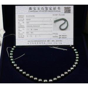 Madalena SARARA Подлинная Saltwater Pearl Tahitian Жемчужное ожерелье Классический стиль Оригинальный жемчужный ожерелье из бисера 8мм-11мм SH190927