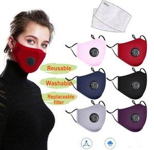 Máscaras reutilizable lavable algodón de la cara con la ranura del filtro de carbón anti-polvo PM 2.5 Máscaras faciales ciclo al aire libre de la boca del respirador FY0016 Máscara