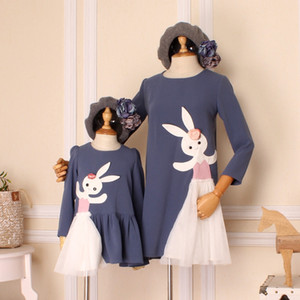 Mother Daughter Dress Cartoon Rabbits Cute Fashion Long Sleeve Dresses Family Look High Quality Spring New Style Softening
