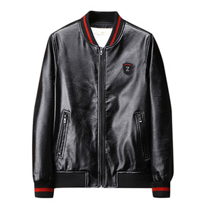 JAYCOSIN Hombres Chaqueta de cuero bordada Pu Abrigos Slim Fit College Fleece Chaquetas de piloto de lujo Hombres Stand Collar Top Jacket Coat
