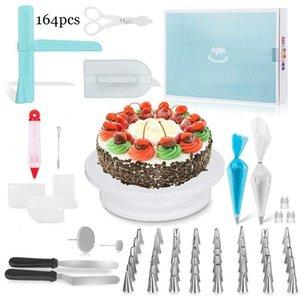 164Pcs de bricolaje multifunción que adorna el kit de la torta de la placa giratoria Set de pastelería tubo pasta de azúcar herramienta de la cocina Postre Herramientas