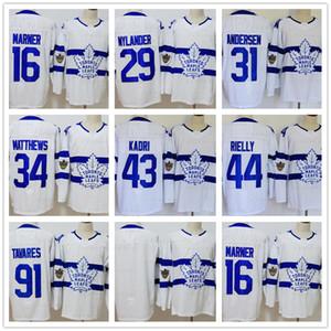Toronto Maple Leafs 16 Mitchell Marner 29 Nylander 31 Andersen 43 Kadri 44 Rielly 91 John 34 Auston 2018 Serie Stadium maglie da hockey