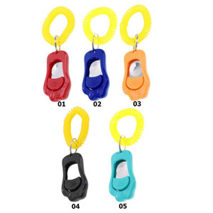 Pet Cat Dog Training Clicker Plastic Adjustable Wrist Strap Sound Key Chain