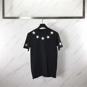 Модельер Футболка мужская одежда Мужчины Женщины с коротким рукавом пятиконечной звезды Flock печати тройники