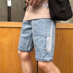pantalons marque de mode masculine en jean mince trou perçant cinq points occasionnels droite à travers des shorts amples cinq points et shorts pantalons de cheval