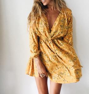 Floral Summer Imprimer Robe Femme col V à manches longues A-ligne Robes de soirée Beach Party Filles Robe Femme Short Mini robe Livraison gratuite