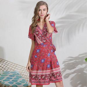 Gkfnmt Womens Bohemian Elbise Çiçek Baskı Yaz Plaj Diz Boyu Elbise Sundress Kısa Kollu V boyun Lace Up