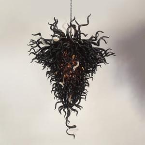 Luxus-Schwarz-Leuchter-Kunst-Speicher Innenhauptbeleuchtung Chihuly Stil 110V bis 240V Großen Murano-Glas Kronleuchter Beleuchtung