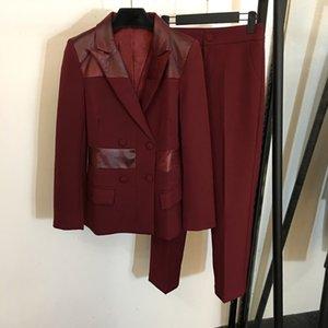 6.1 2.020 novas mulheres vinho tinto retalhos de couro terninho Brasão Set Color Block Abotoamento Blazer + tornozelo Pants Comprimento