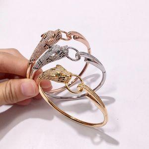 Designer Schmuck Luxus Leopard Kopf Armband Frauen Diamant Tier Armreif Charms Hochzeit Engagement Edlen Schmuck