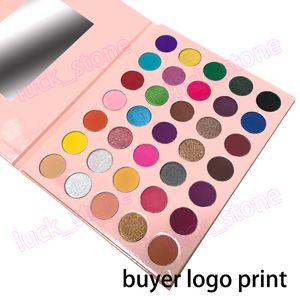 35 Parlak Renkler Mat Işıltılı Göz Farı Pallete Uzun Hiçbir logo pembe beyaz karton Göz Farı Kozmetik alıcı logosu baskı kabul süren