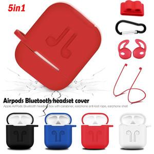 5 in 1 Kit Soft-Silikon-Aufbewahrungstasche für Airpods drahtloser Kopfhörer + Anti-verlorene Bügel + Earbuds Fall mit Haken Zubehör set freies Verschiffen