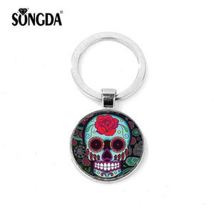 SONGDA Sugar Skull Cool 3D Llavero Retro Terror Photo Glass Cabochon Llavero Joyas Accesorios Llave Del Coche de Halloween Hombres o Mujeres
