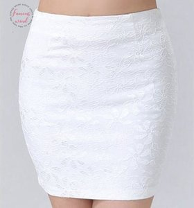 Large Size Ol Skirt Business Women Office Mini Pencil Skirt Sexy Floral Lace Skirt High Waist Black White Short With Zip