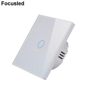 AB Standart Anahtarı Tek Canlı Tel 1 Gang 1 Yollu Duvar Dokunmatik Ekran Anahtarı Lüks Beyaz Kristal Sertleştirilmiş Cam, AC 220-250 V Renkli Tasarım