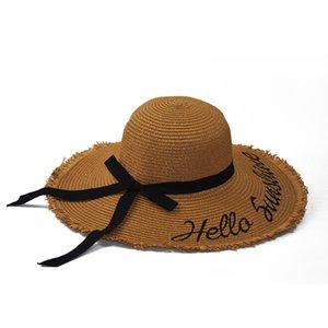 Korean Style Beach Hat Womens Sun Visor Dome Hat Travel Sun Hat Bow Woven Straw