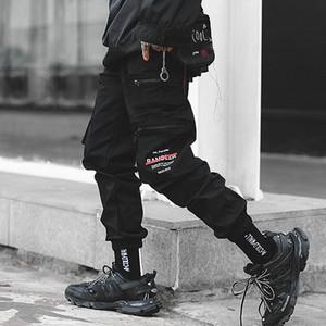 Calças Septhydrogen Marca Men Carga Streetwear dos homens de Hip Hop Preto lápis bolsos das calças Harem Corredores de moda primavera Mens Harem Calças