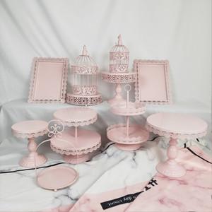 11 Stücke Hochzeit Set Tablett Dessert Großhandel Metall Birdcage Weiß Rosa Farbe Phantasie Geburtstag Kuchen Stehen