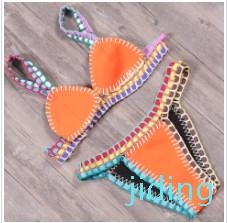 Wholesale-New Sexy Fashion Women Color Matching Special Bikini Set Crochet By Hand Swimsuit Backless Bras Thong Bottoms