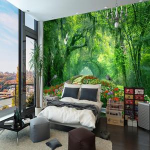 Natura Paesaggio 3D Murale Carta da parati legno parco piccola strada murale Soggiorno TV Sfondo Foto Wallpaper per pareti della camera da letto